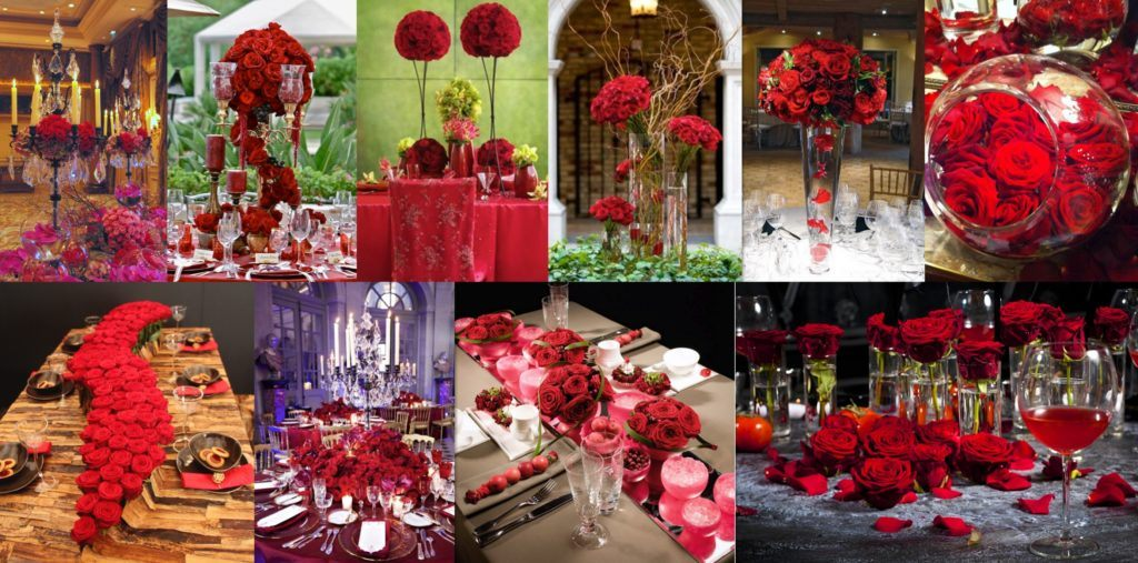 Overview with floral design pictures with White & red Naomi roses