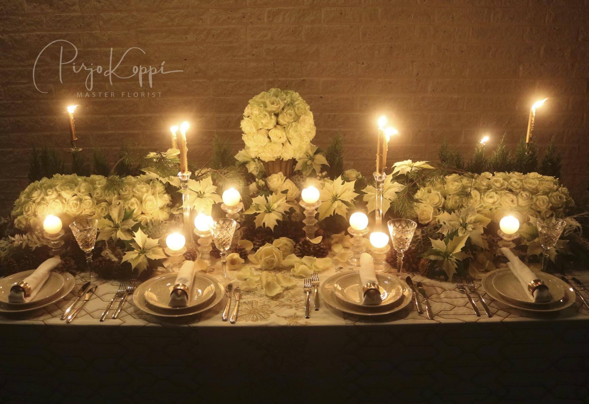Pirjo's Elegant Festive Dinner Table with Porta Nova White Naomi