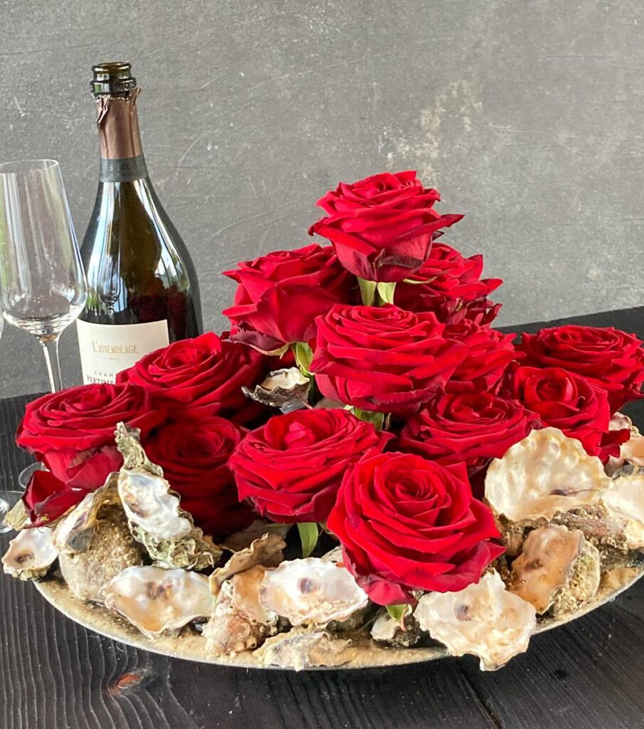 Red Naomi Table design with oysters by Linda Nielsen