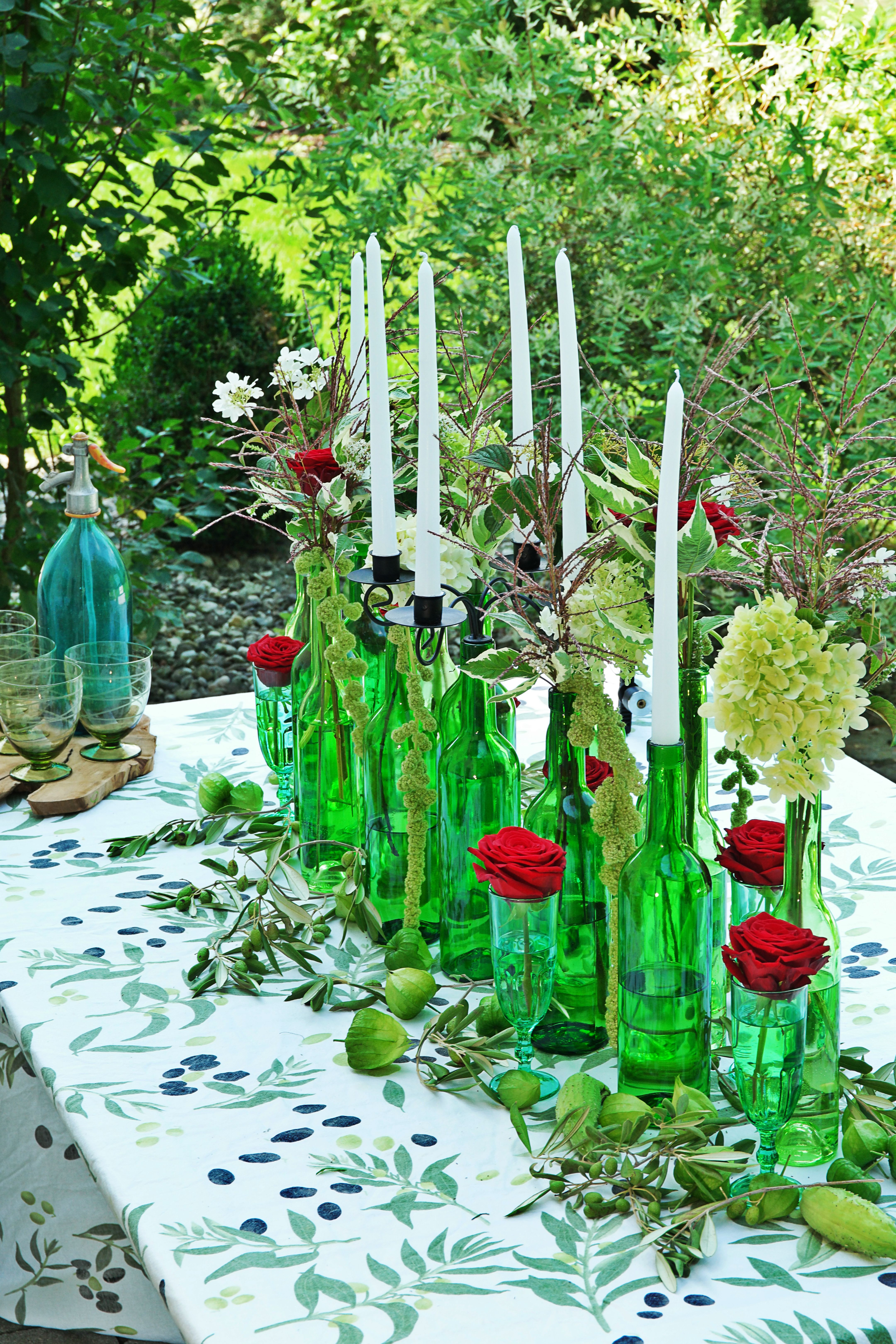 """Rich Harvest"" Table arrangement with Porta Nova roses"