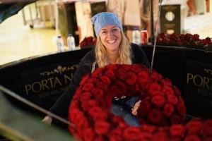 Florist Ania Norwood with Porta Nova Red Naomi wishing well