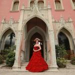 Beautiful dress made of Porta Nova Red Naomi roses at Villa et Jardins Ephrussi de Rothschild