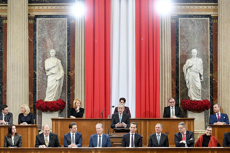 Timo bolte Austrian President inauguration porta nova red naomi